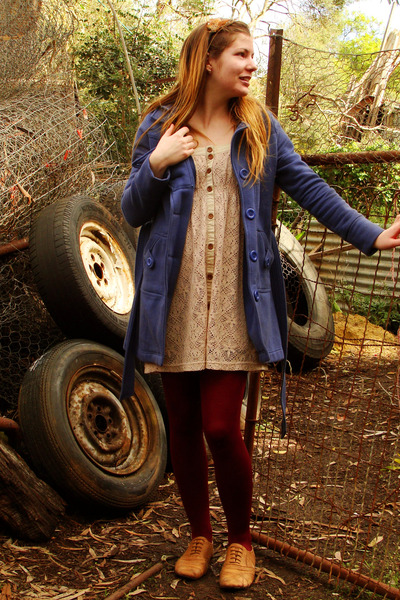 blue - coat - beige Valley Girl dress - red Myers tights - brown rubi shoes - br