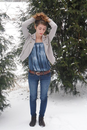 dark brown thrifted boots - blue American Eagle jeans - heather gray Urban Outfi