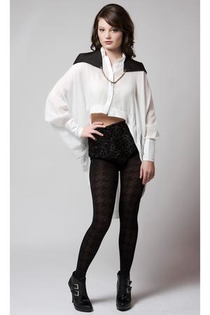 white Gemma Degara top - black Gemma Degara accessories - black quail shorts