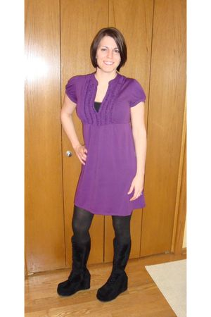 purple Khols dress - black boots - black tights