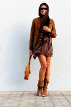 dark brown Zara jacket - burnt orange hakei boots - bronze loewe bag