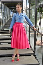 hot pink striped skirt asos skirt - sky blue chambray shirt Terranova shirt