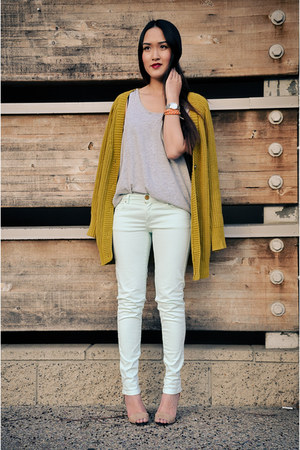 chartreuse BCBGeneration cardigan - light blue Zara pants - tan Zara heels
