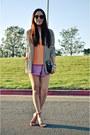 White-stripes-forever-21-blazer-light-purple-ruffles-foreign-exchange-shorts