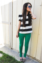 green green jeans Zara pants - white Zara blouse