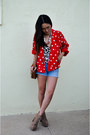 Red-polka-dot-vintage-jacket-light-brown-lita-jeffrey-campbell-boots