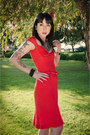 Red-miss-sixty-dress-silver-forever-21-necklace-studded-kippys-bracelet