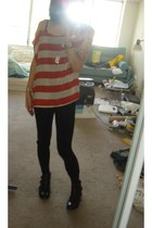 ditto black pants - aldo black boots - forever 21 Orange blouse