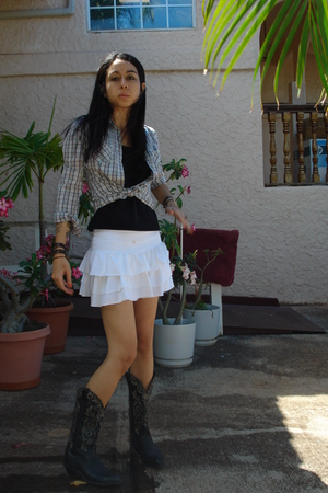 thrifted boots - thrifted skirt - thrifted shirt