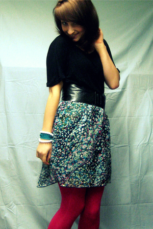 forever 21 shirt - Rave belt - Target skirt - Old Navy tights - bracelet - brace