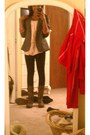 Dark-brown-steve-madden-boots-gray-tweed-forever21-blazer