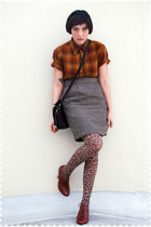 brown Pendleton blouse - brown steven alan skirt - brown stockings - brown seych
