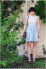 Blue-dress-brown-coach-purse-brown-kork-ease-shoes
