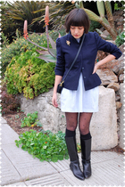 blue blazer - blue dress - blue coach purse - black Tabio stockings - black sock