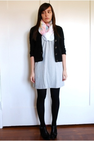 JCrew sweater - thrifted vintage scarf - forever 21 dress - wolford on ebay stoc