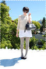 Pink-jacket-white-dress-gray-stockings-black-shoes-black-purse-black-s