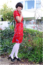 Red-dress-white-drug-store-stockings-black-remix-vintage-shoes-shoes-black