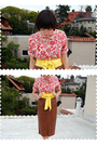 Red-blouse-yellow-american-apparel-accessories-brown-skirt-red-anne-klein-