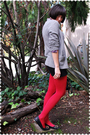Gray-jcrew-cardigan-red-blouse-black-american-apparel-skirt-red-tabio-stoc