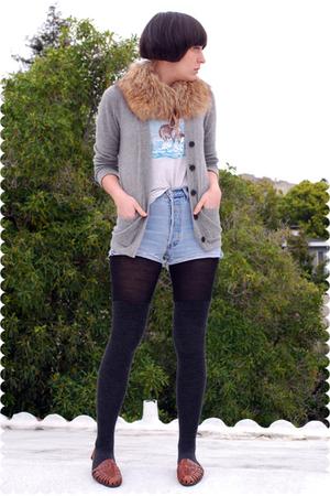 brown accessories - gray JCrew cardigan - white t-shirt - blue Levis shorts - bl