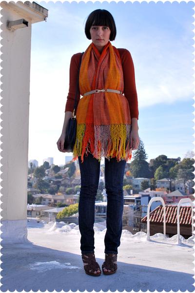 orange sweater - orange scarf - beige belt - blue indidenim jeans - blue coach p