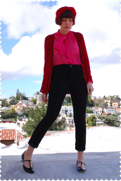 red accessories - black t-strap flats Urban Outfitters shoes