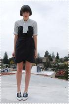 white blouse - black H&M dress - black payless shoes