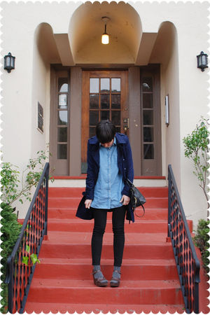 blue coat - brown shoes - black jeans - black bag - gray socks - blue blouse