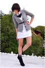 Gray-jcrew-cardigan-white-dress-black-glitzer-on-etsy-necklace-black-urban
