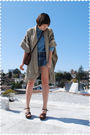 Brown-coat-blue-heritage-1981-blouse-blue-earl-jeans-shorts-brown-coach-pu