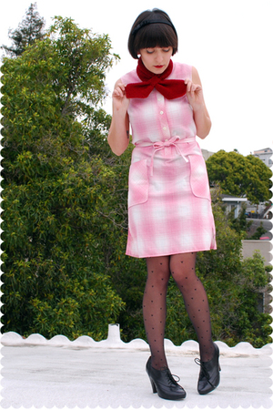 pink vintage flannel adelaides homesewn dress - black seychelles shoes