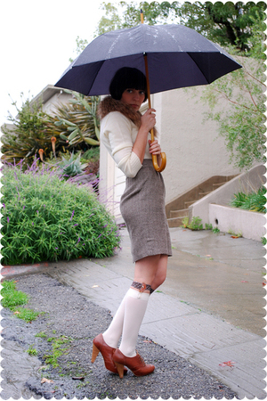 brown belt - beige sweater - brown steven alan skirt - brown accessories - beige