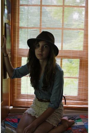 dark brown wool Eddie Bauer hat - eggshell lace volcom skirt - brown woven Ameri