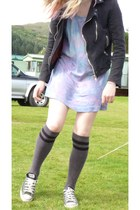 biker  jacket - tie dye H&M dress - knee high Asda socks - Converse sneakers