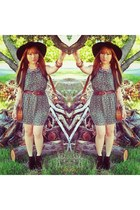 floppy love couture hat - velvet Shubar boots - floral print Crazy Dexter dress