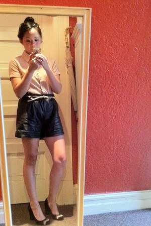black faux leather BCBG shorts - peach sheer button-up Forever 21 shirt