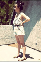 white striped tank H&M top - light blue Wrangler shorts