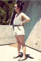 white striped tank H&M top - light blue Wrangler shorts