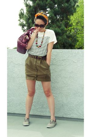 white Forever 21 shirt - green H&amp;M skirt - brown Keds shoes - brown Forever 21 a