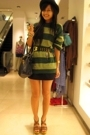 green the boyfriends top - brown Steve Madden shoes