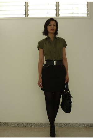 black black Zara tights - black leather Mario Hernandez bag - black elastic Mang