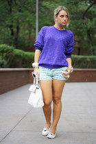 deep purple vintage sweater - white Aldo bag - aquamarine Zara shorts