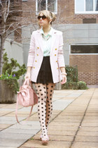 light pink H&M blazer - black H&M tights - light pink Miu Miu bag