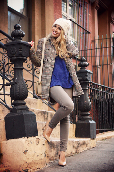 brown H&M coat - light brown Fornarina jeans - navy nowIStyle sweater