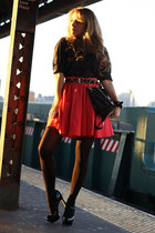 hot pink luluscom skirt - black Bijou Fashion Jewelry bag - black baker heels