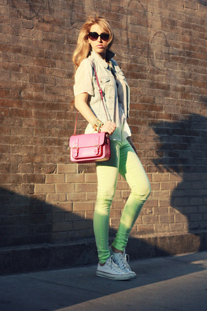 hot pink Luluscom bag - white Converse shoes
