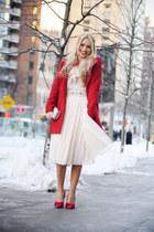 red Bershka coat - eggshell H&M shirt - off white Accessorize bag