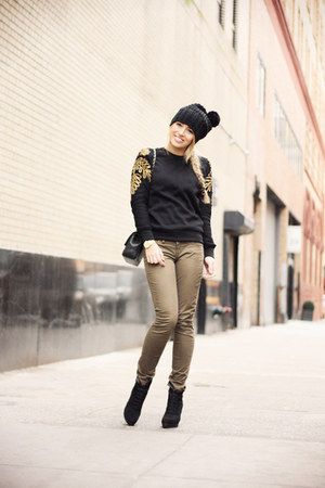 black Mango boots - black Chanel bag - light brown Silver Jeans pants