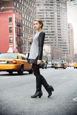 black naughty monkey boots - heather gray OASAP dress - black Zara bag