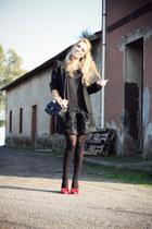 black Mina UK dress - black Zara blazer - black Chanel bag